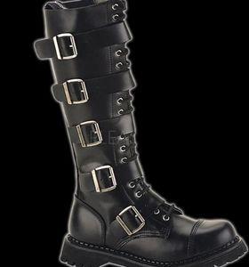 Demonia steel toe 5 buckle boots